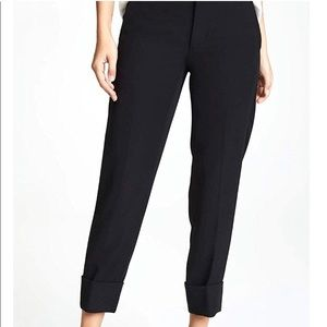 Vince Cuffed Wool Crepe Trousers Cropped High Rise